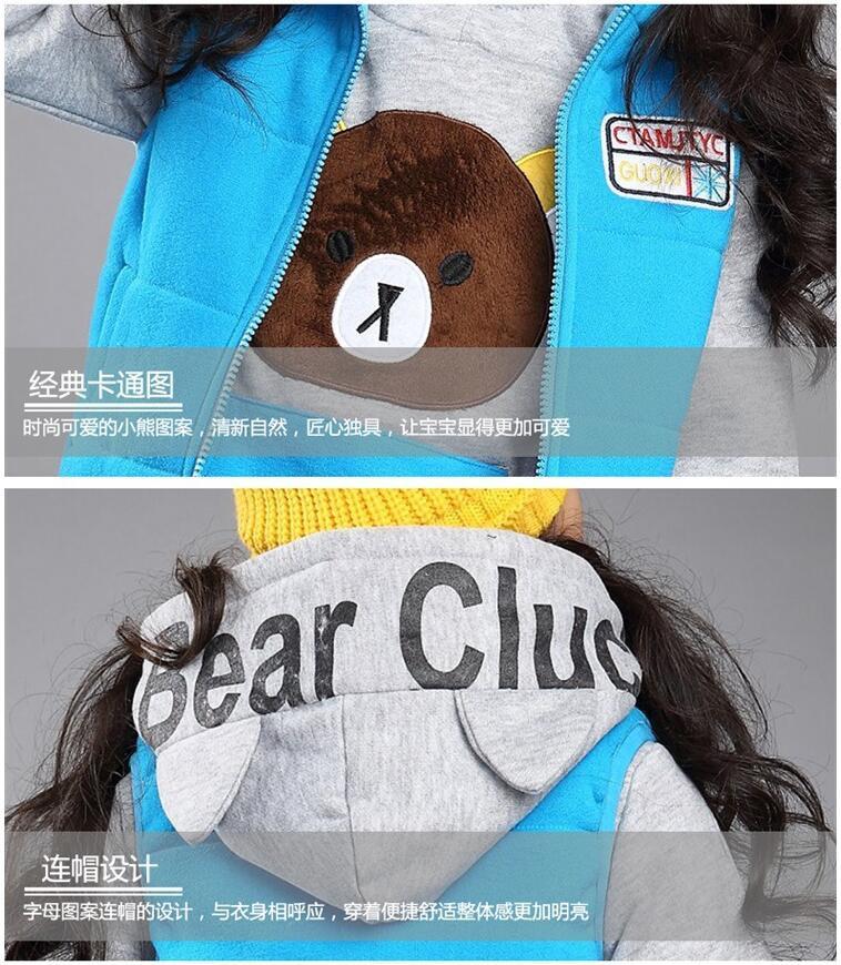 Скидки на 3 цвет медведь картинки спортивная одежда для подростков девочек тренировочных толстовки, Брюки и жилет подростков запуск Set одежда для зимы
