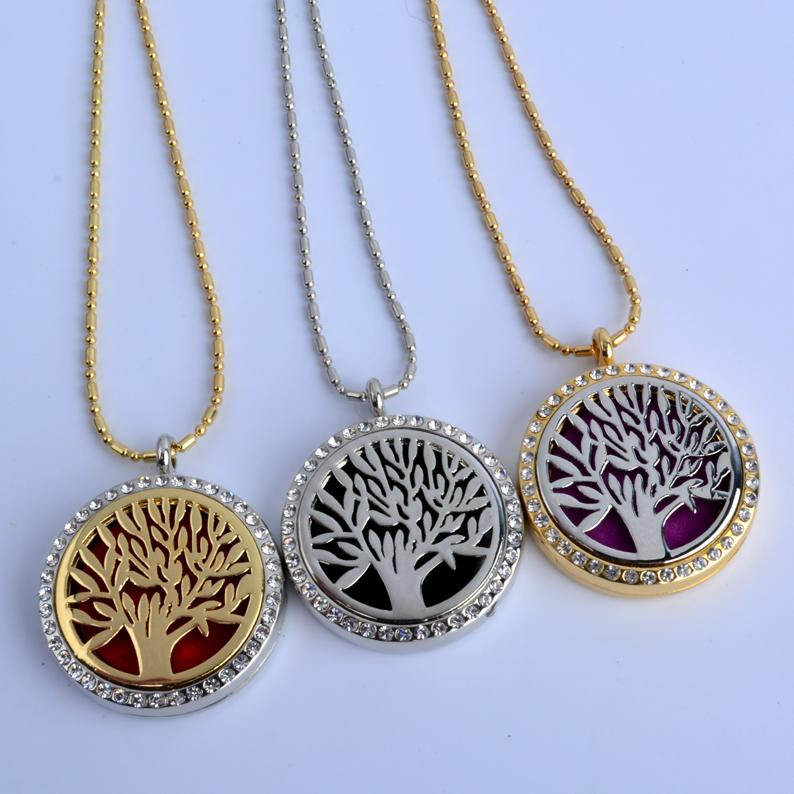 1Pc Round Tree Rhinestone Locket (30mm) Aromatherapy Perfume Diffuser Floating Locket Necklace For Gift(China (Mainland))