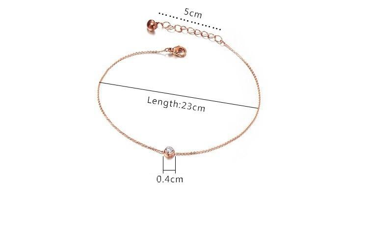 Высокое качество титана стали 18KGP роуз мозаика циркон ножной браслет мода марка ювелирный женщины браслет нога подарок