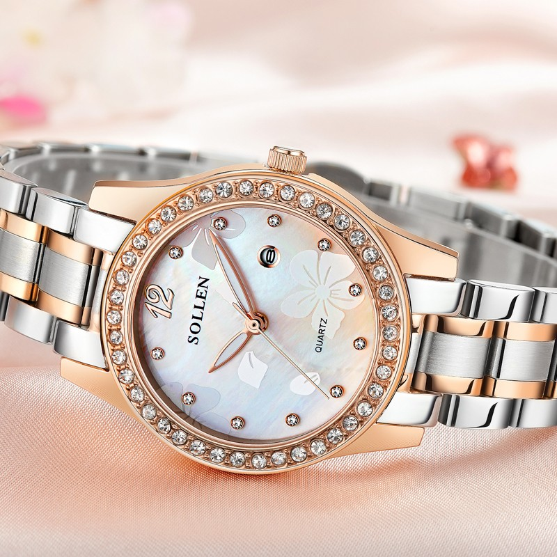 SOLLEN подлинной кварцевые часы женщины Г-Жа часы календарь световой полосы стали женские часы