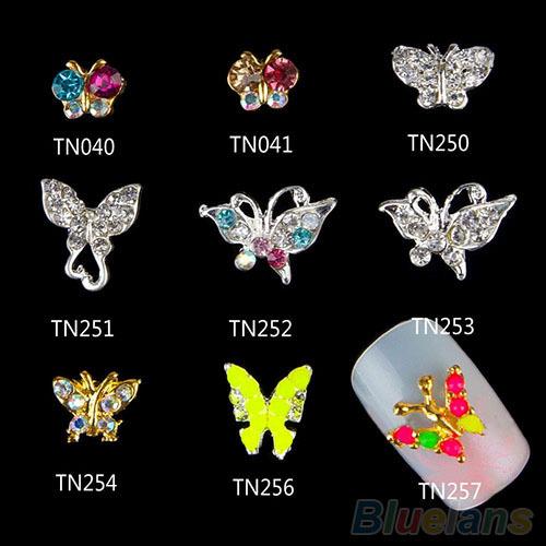 10 / set Nail Art borboleta 3D liga Glitter DIY decoração 1WLF