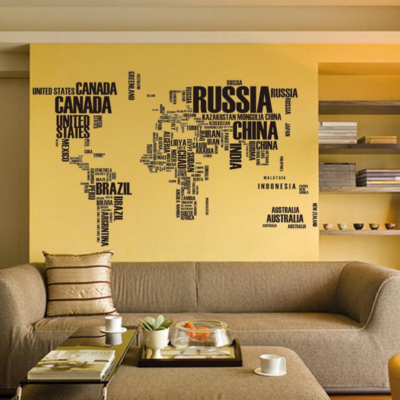 Hot PVC Adesivos de Parede Mapa Mundi Carta Citação Vinil Removível Do Decalque Mural Home Decor Adesivos