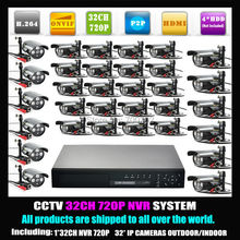 Promotion 32 Channel NVR System 32CH Home Security Wired Color Network Camera HD 720P Outdoor 32pcs CCTV IP Camera ONVIF H.264