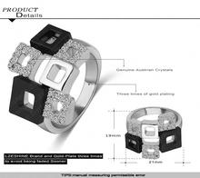 LZESHINE Geometric Crystal Rings 18K Rose Gold Platinum Plated Austrian Crystal Square Ring Full Sizes Wholesale