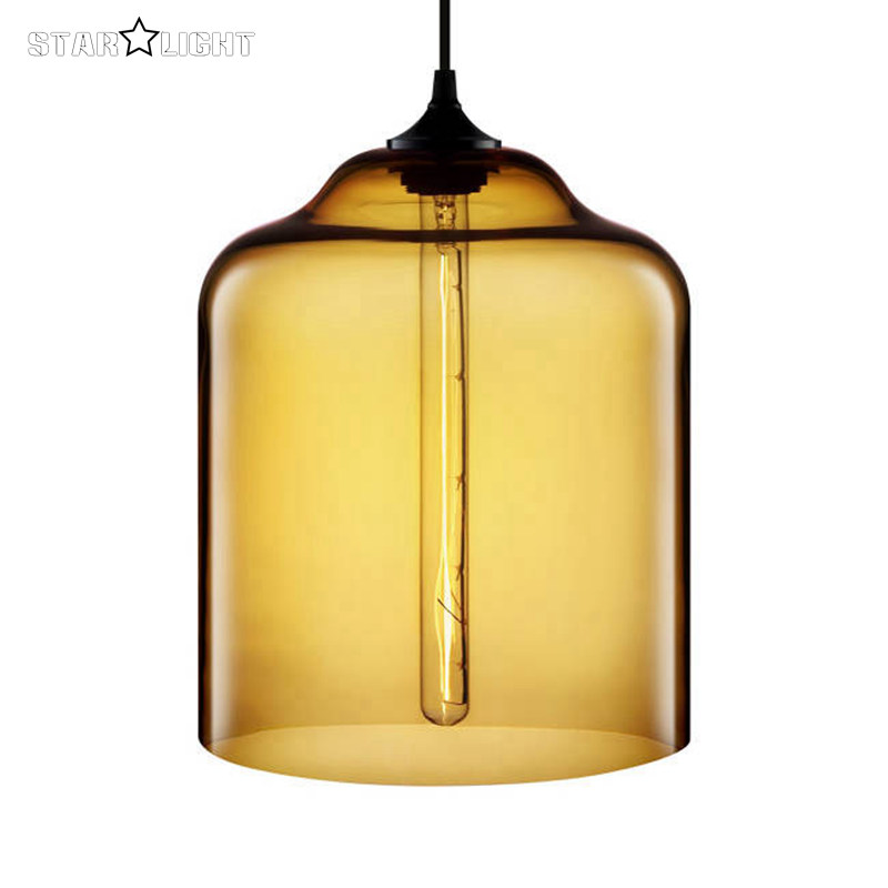 nichemodern series pendant lights 7 colors Bell Jar glass shade modern pendant lamp American design hand blown glass lampshade(China (Mainland))