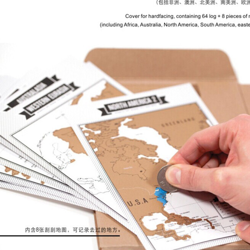 hot Journal Scratch Map Deluxe Travel Journal Travel Scratch Notepad Travel Tips book Best Memory(China (Mainland))