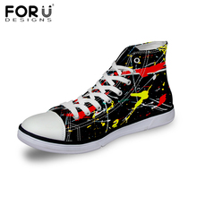 FORUDESIGNS Black Canvas Shoes for Women High Top Lace-UP Breathable Casual Shoes Graffiti Print All Star Canvas Shoes Chaussure(China (Mainland))