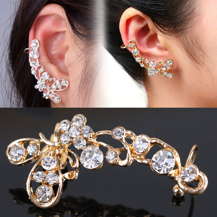 Chic Retro Crystal Ear Clip Butterfly Flower Gold Ear Cuff Stud Earring Wrap Clip On Ear only right side EAR-0155(China (Mainland))
