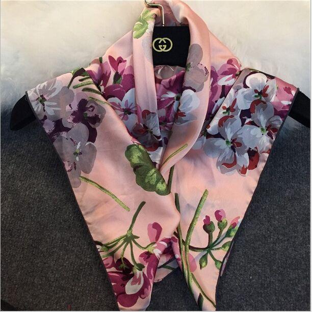 2016 Women geranium flower Brand Boho Blooms Print 20% Silk Satin Scarf(China (Mainland))
