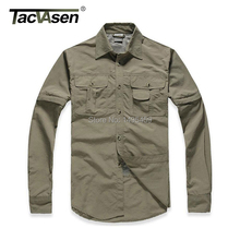 Outdoor Brand Shirt Men Removable Quick Dry Breathable Tactical Shirt Summer Camping Traveling Long Sleeve Shirts(China (Mainland))
