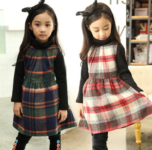 Free shipping Fall Winter Girl Dresses baby Girls Scottish font b kilt b font dresses Children