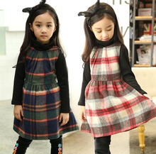 Free shipping Fall Winter Girl Dresses baby Girls Scottish kilt dresses Children kids Grid party dress