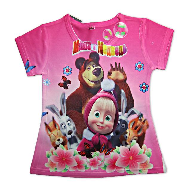 Летний стиль мода мультфильм маша и медведь дети футболки для детей свободного покроя с коротким рукавом детей майки топы