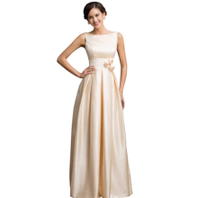 Grace Karin Stock Two Shoulder Long Satin Evening Dress Gown Sleeveless Low Back Evening Party dresses for Wedding Bride 7539(China (Mainland))