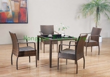 new pe rattan dining chairs with tempered glass