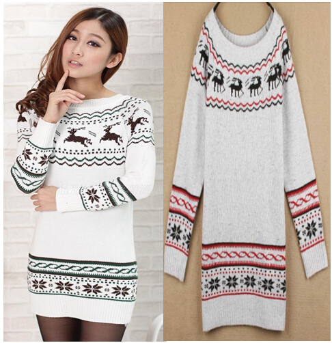 Women Sweater Dress Autumn Winter Reindeer Snowflake Knitted Pullovers Women's Mid-Long Slim Sweaters White Gray M8001(China (Mainland))