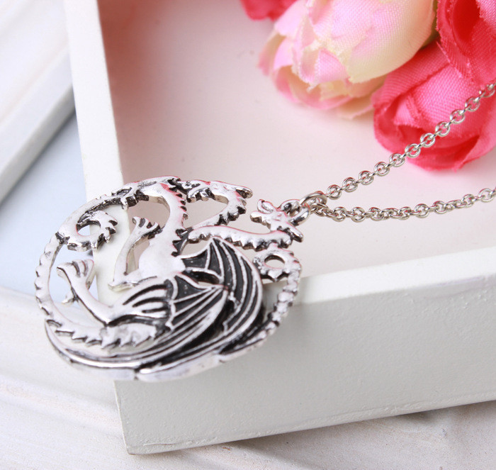 Latest Song of Ice And Fire Dragon Necklace Powers Game Necklace Pendant Vintage Accessories For Women Men(China (Mainland))