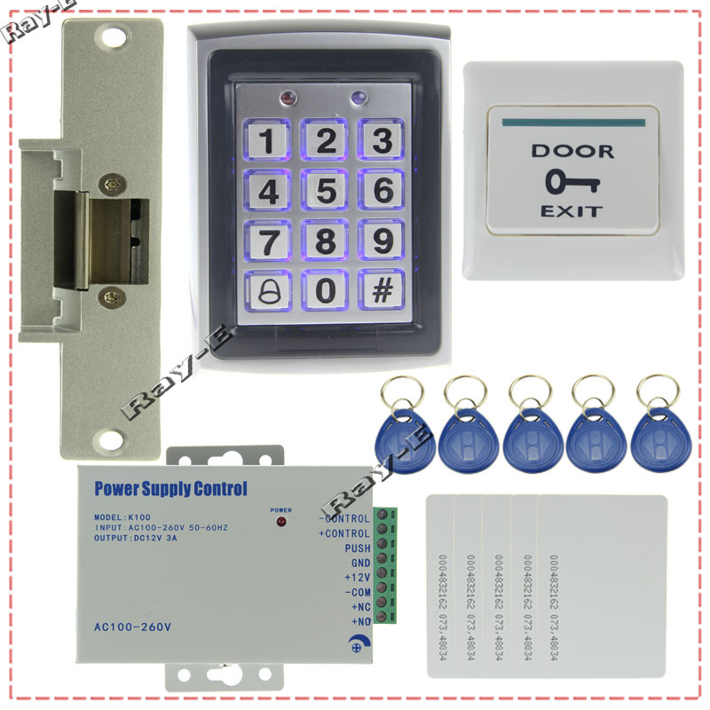 door access control system kit set metal rfid keypad strike door lock power exit button. Black Bedroom Furniture Sets. Home Design Ideas