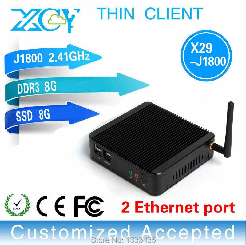 Hot sale! thin client pc share mini desktop computer mini pc linux support X29-j1800 Dual Lan full screen movies 8g ram 8g ssd(China (Mainland))