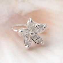 1PC Women s Fashion Cz Crystal Flower U Shape Ear Cuff Clip on No Piercing Earring