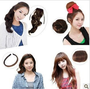 Free shipping- 4pcs/set synthetic hair extension curl ponytail+hair chignon+hair band+hair fringe perfect hair set-sale<br><br>Aliexpress