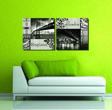 2016 New Arrival Direct Selling Wholesale 2pcs Modular Picture The Bridge Black and White Computer Printing Decorative Painting(China (Mainland))