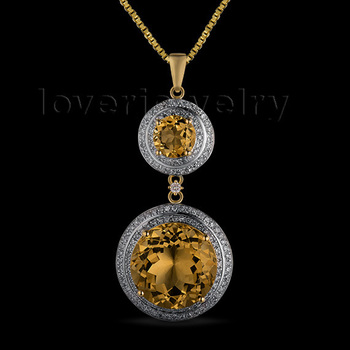 NEW 10.38CT SOLID 14KT YELLOW GOLD NATURAL GORGEOUS CITRINE DIAMOND WEDDING PENDANT ER002