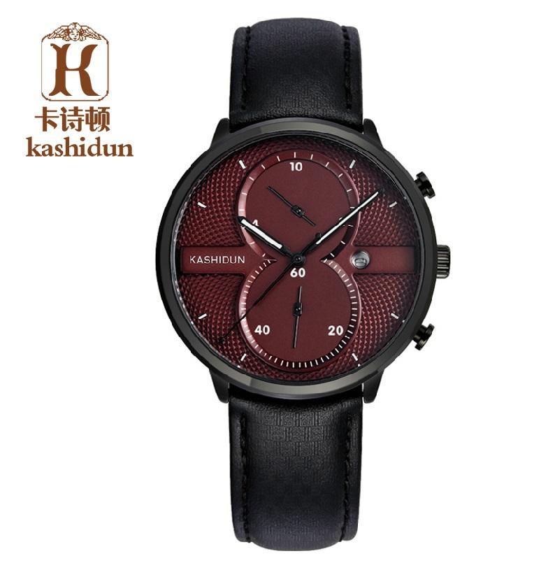 Здесь можно купить  Kashidun brand hot sale quartz watch fashion casual watches men leather strap sport wirstwatches multi-function watches  Ювелирные изделия и часы