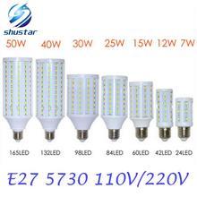 Discount prices E27 3W 5W 7W 12W 15W 25W 30W 40W 50W LED lamps 85V-265V Spotlight 5730 SMD LEDs Corn Bulb Chandelier light(China (Mainland))