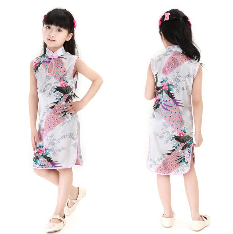 White Newest Cute silk Children Kid Qipao CheongSam Girl Party Dress Chinese style YZ0058(China (Mainland))