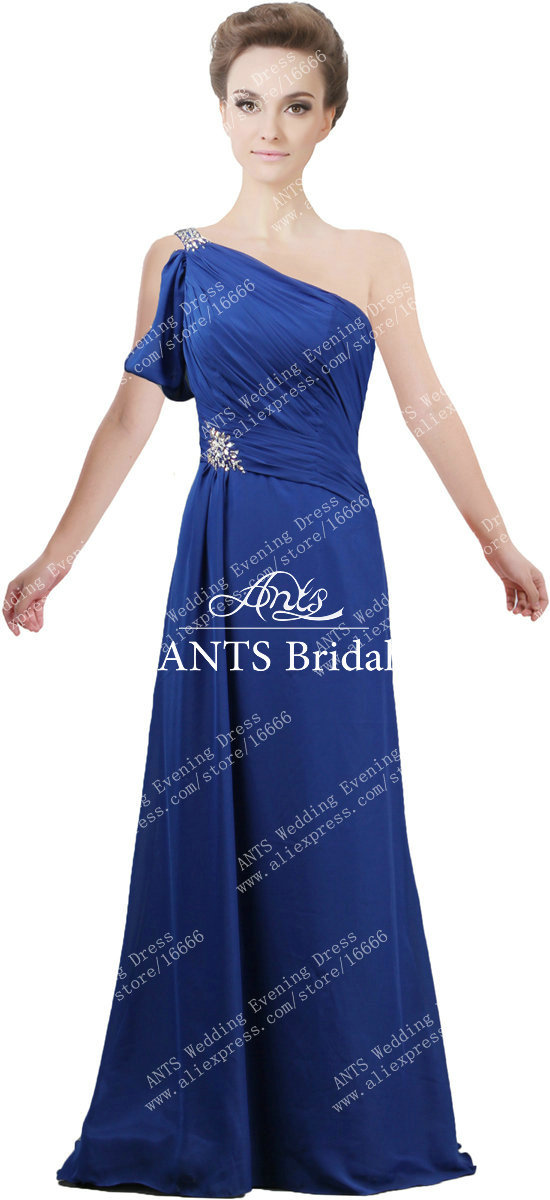 Ants x236 formal one shoulder royal blue chiffon crystal for Royal blue wedding guest dress