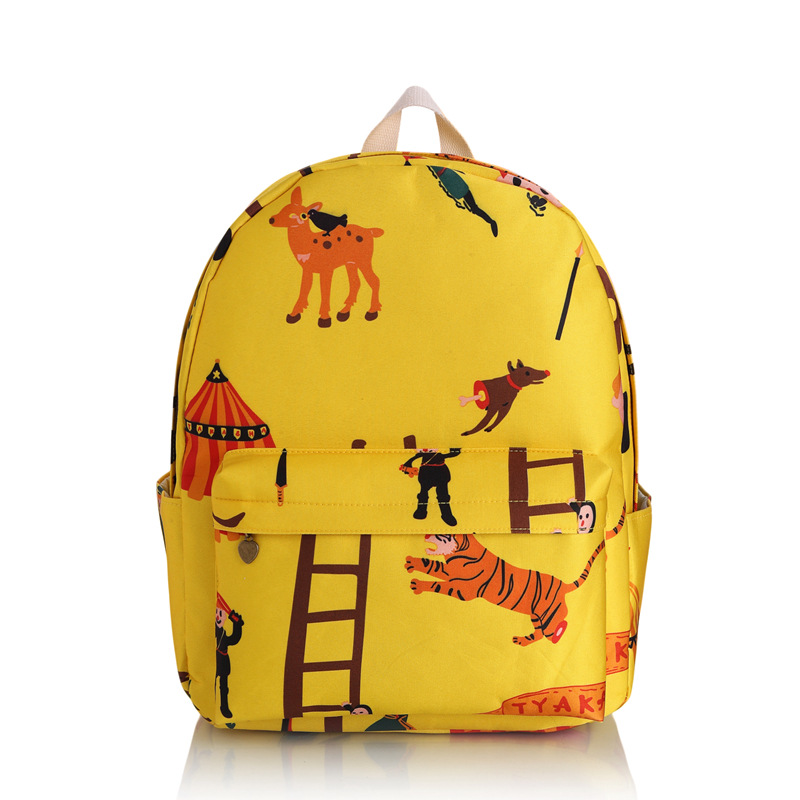 Cartoon giraffe and Tiger Canvas Cute Backpack Preppy Fresh Girls Dailypack bags School Backpack Lady Light Yellow Travel Bags(China (Mainland))
