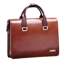 Free shipping Men's Genuine Leather Vintage Formal Business Lawyer Briefcase Messenger Shoulder Attache Portfolio Tote Brown(China (Mainland))