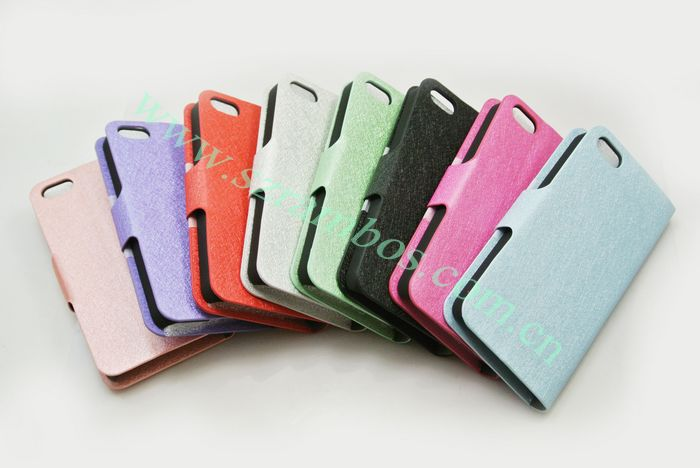 Book Style Feather Silk Leather Flip Phone Case Cover with Card Holder for iphone 5c 200pcs/lot DHL Free(China (Mainland))