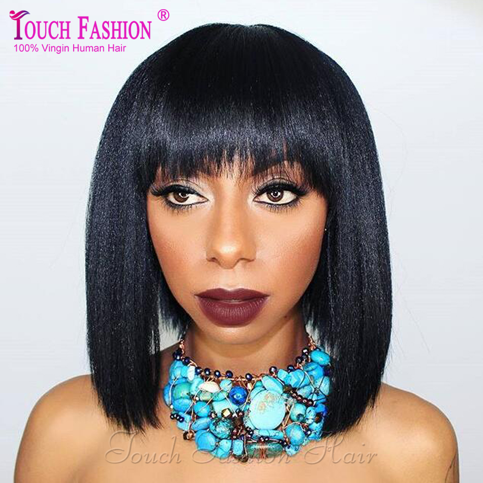 Short Yaki Wig with Bangs Light Yaki Bob Lace Front Wig Glueless Full Lace Yaki Bob Wigs for Black Women Soft Yaki Bangs Wig<br><br>Aliexpress