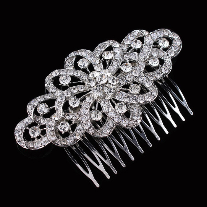 Wedding Hair Accessories Bridal Crystal Rhinestone Flower Fashion Korean Tuck Comb 9.6*6.2cm(China (Mainland))