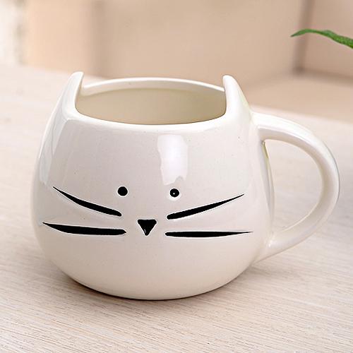 NHBR Coffee Cup Black Cat Animal Milk Cup Ceramic Lovers Mug Cute Birthday gift,Christmas Gift(White)(China (Mainland))