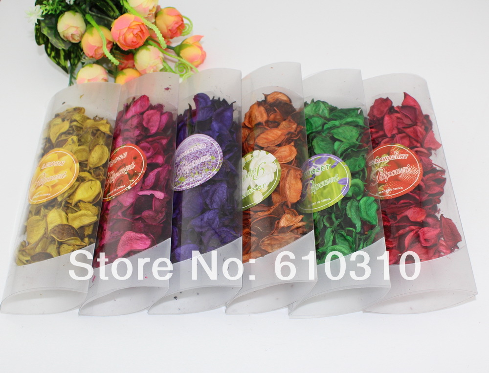 Free shipping Wholesale mix color flower design natural dried flower sachet for home decoration Potpourri Packs(China (Mainland))
