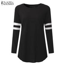 ZANZEA mujeres Blusas camisas 2018 otoño suelta Casual Tops cuello redondo manga larga asimétrico dobladillo Blusas más tamaño S-5XL(China)