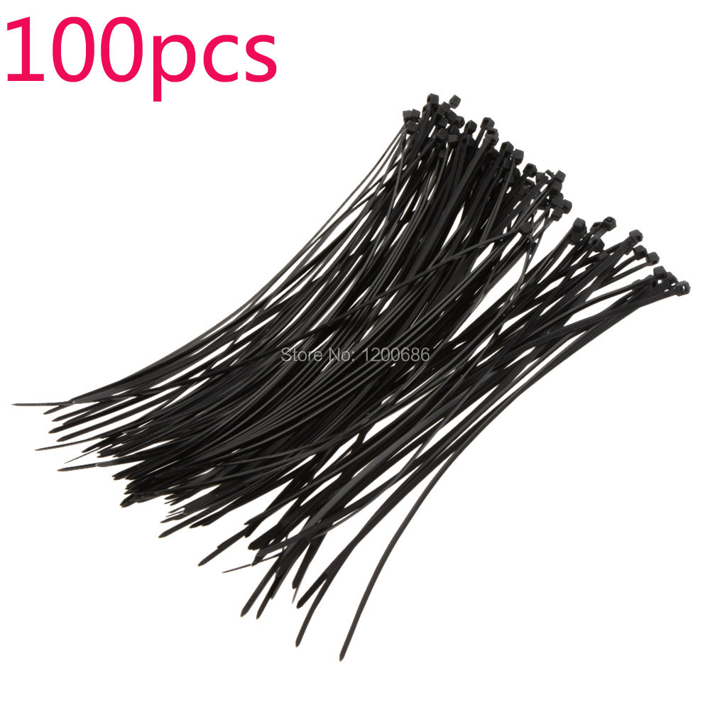 100Pcs 20cm Fire-resistant Plastic Nylon Cable Ties Zip Wire Wrap Fasten Strap Self-locking Black 1Lot<br><br>Aliexpress