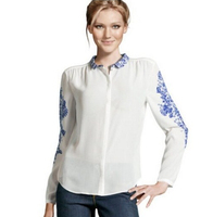 New arrival women blouse top Fashion hot-selling blue and white porcelain print long-sleeve shirt