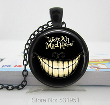 Wholesale We're all Mad Here Necklace Glass Pendant Alice in Wonderland necklace As a gift, glass cabochon dome pendant necklace(China (Mainland))