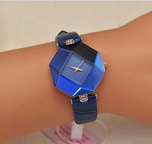 Reloj de moda mujeres grandes cristal KEZZI marca para mujer reloj del cuarzo vida a prueba de agua reloj de cuero con 4 colores
