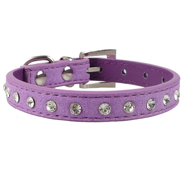 Clear Rhinestones Diamante Soft Suede Leather Dog Puppy Cat Collars 3 Sizes