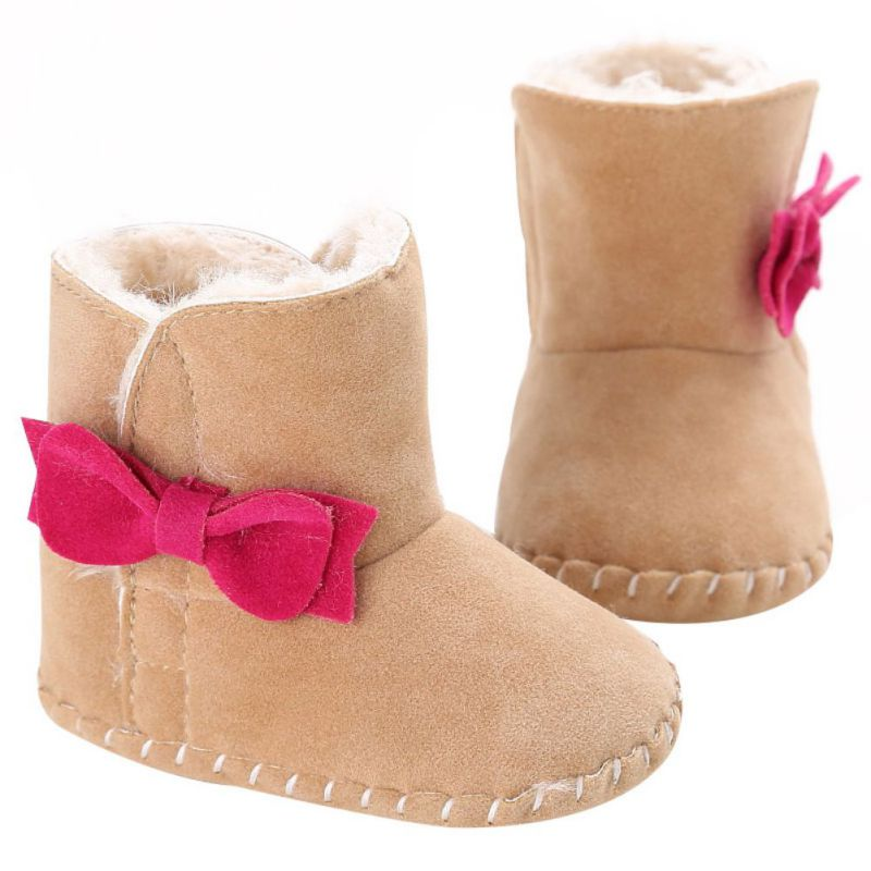 Winter Warm Infant Boots Toddler Babys Girls Snow Boots Bowknot Soft Soled Shoes S08