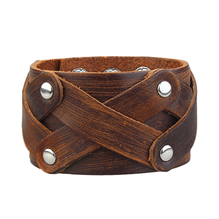 Leather Bracelet Men Jewelry Vintage Braclets Bangles Mens Cuff Wristband Fashion Pulseras Hombre Punk Rock Pulaeira Aliexpress - Rockstar fashion store