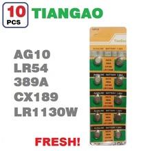 10pcs AG10 389 LR54 SR54 SR1130W 189  SB-BU L1130 Watch Clock Cell Button Batteries Alkaline men children card wholesale LOT