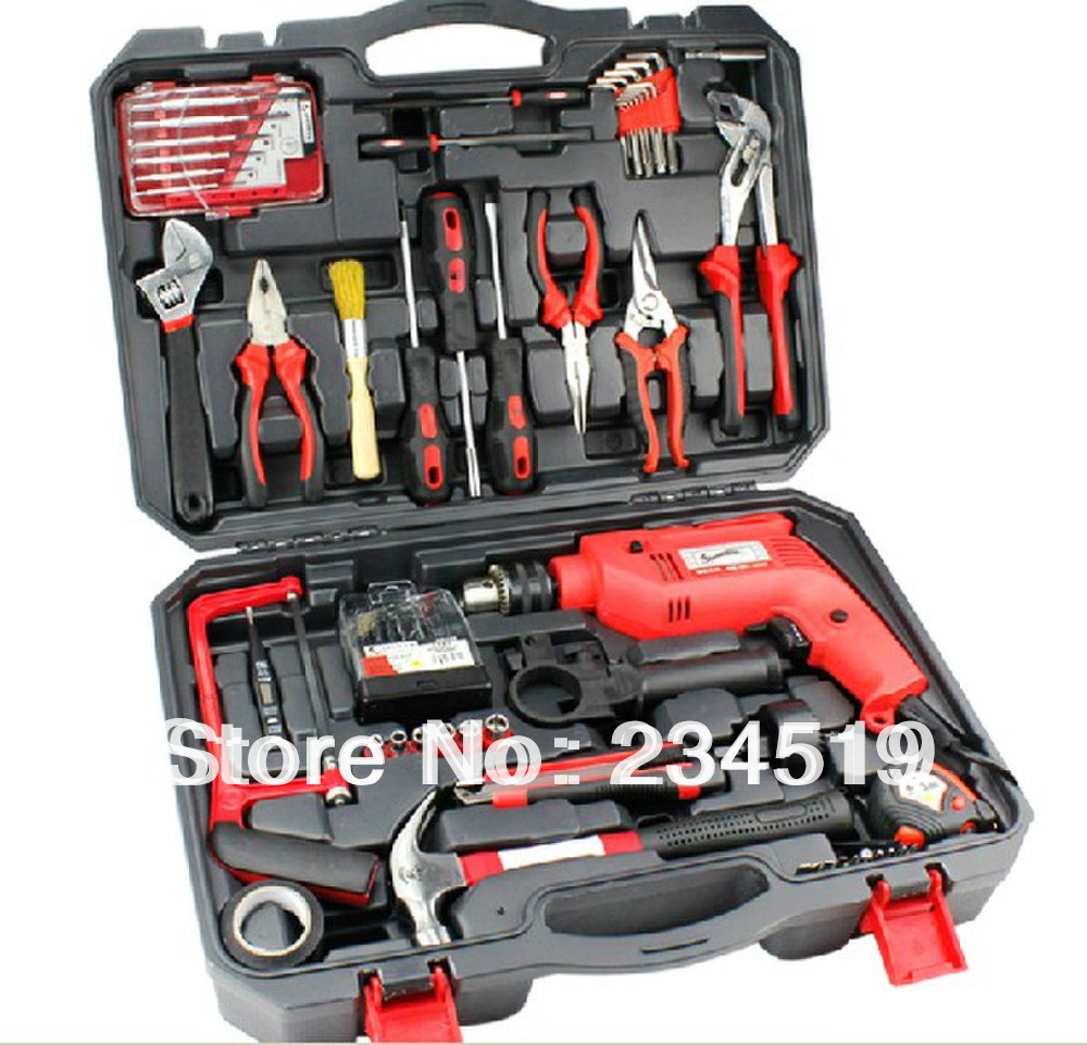 71 sets of household tool combination suit household group set of drill hardware tool box - Household tools ...