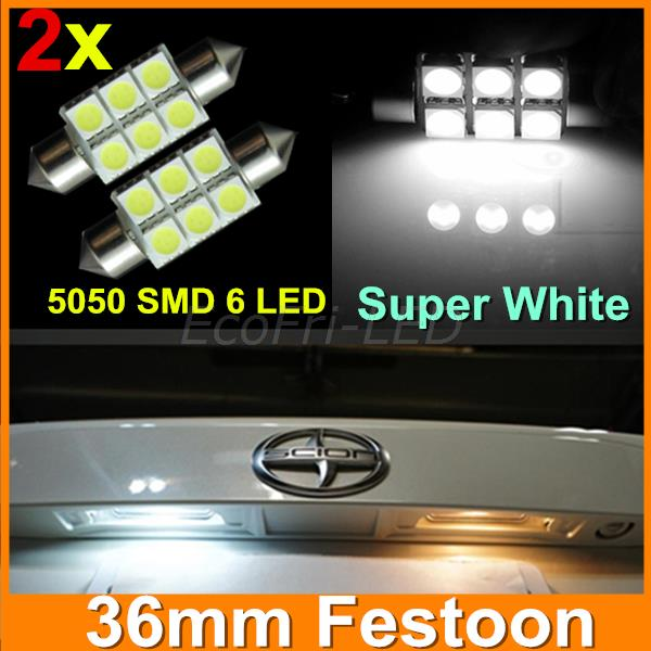 Super White Led 36mm Festoon 5050 SMD 6 LED C5W Car Auto Interior Dome Door Light Lamp Bulb Pathway lighting 12V Work Lamp 2pcs(China (Mainland))