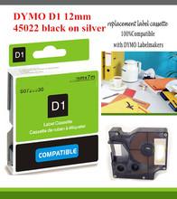 dymo 5pcs/lot 12mm*7m 45022 black on silver compatible dymo label maker dymo D1 Label Tape printer ribbons cp company enduro
